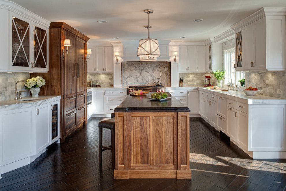 Kentwood Flooring for a Transitional Kitchen with a One Level Island and Naperville Residence:  Kitchen, Mudroom, Powder Room by Gina Bon, Airoom Architects & Builders Llc