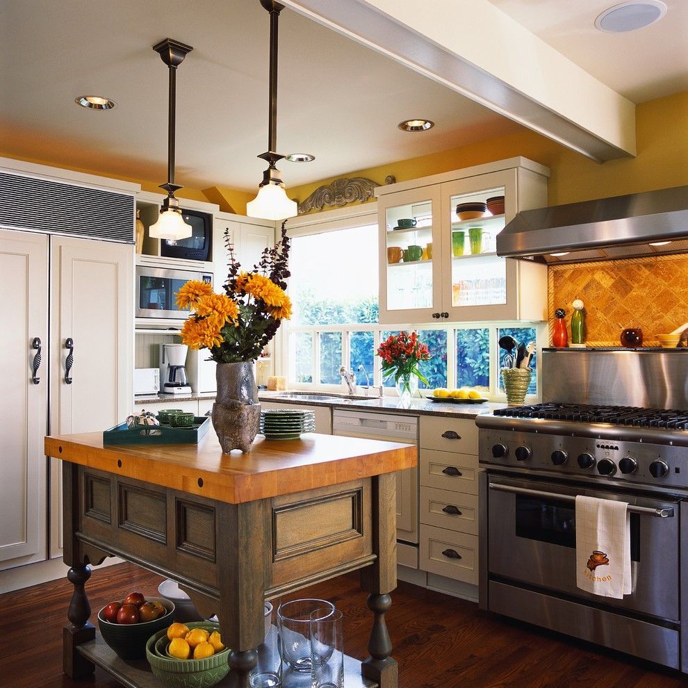 Kichen for a Contemporary Kitchen with a Ceiling Beam and Custom Color Finish by N Hance