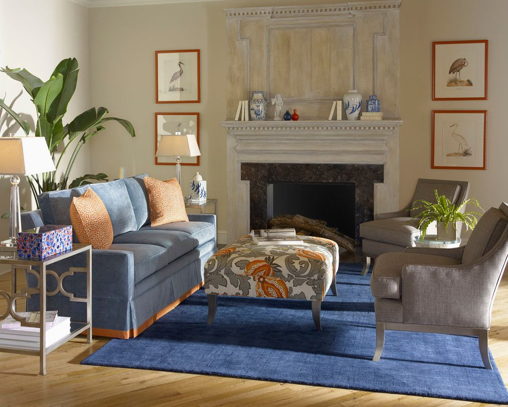 Kick Pleat for a  Living Room with a Blue Sofa and Living Room by Slater's Home Furnishings