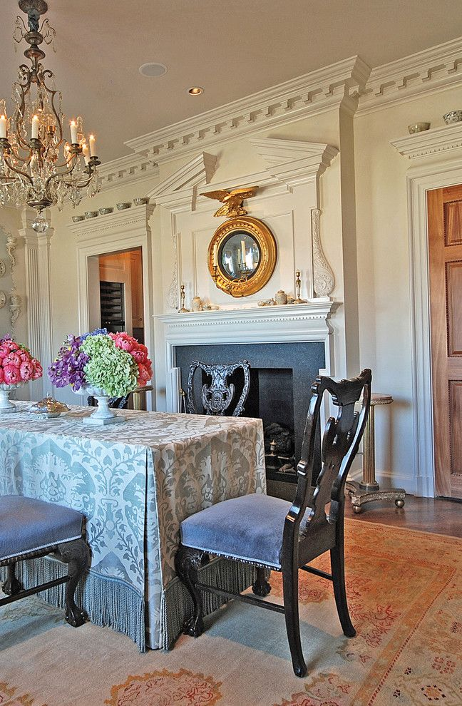 Kick Pleat for a Traditional Dining Room with a Woodwork and Fort Worth Dream Home Mantel by Hull Historical