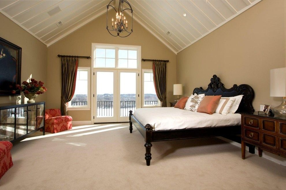 Kilim Beige Sherwin Williams for a Traditional Bedroom with a Vaulted Ceiling and Bedroom by Stonewood, Llc