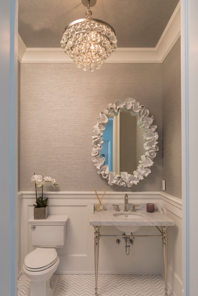 Klaffs Norwalk for a Contemporary Bathroom with a Textured Wallpaper and Holiday House Hamptons by Susan Glick Interiors