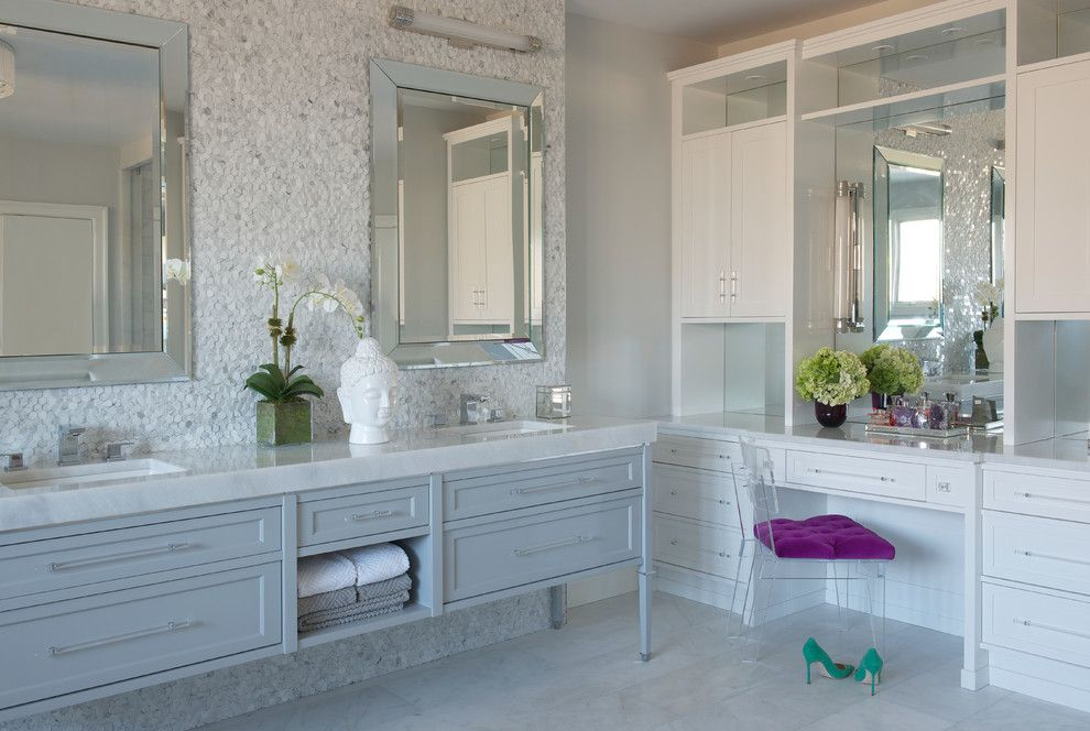 Klaffs Norwalk for a Transitional Bathroom with a Shine and Modern Glam by Susan Glick Interiors