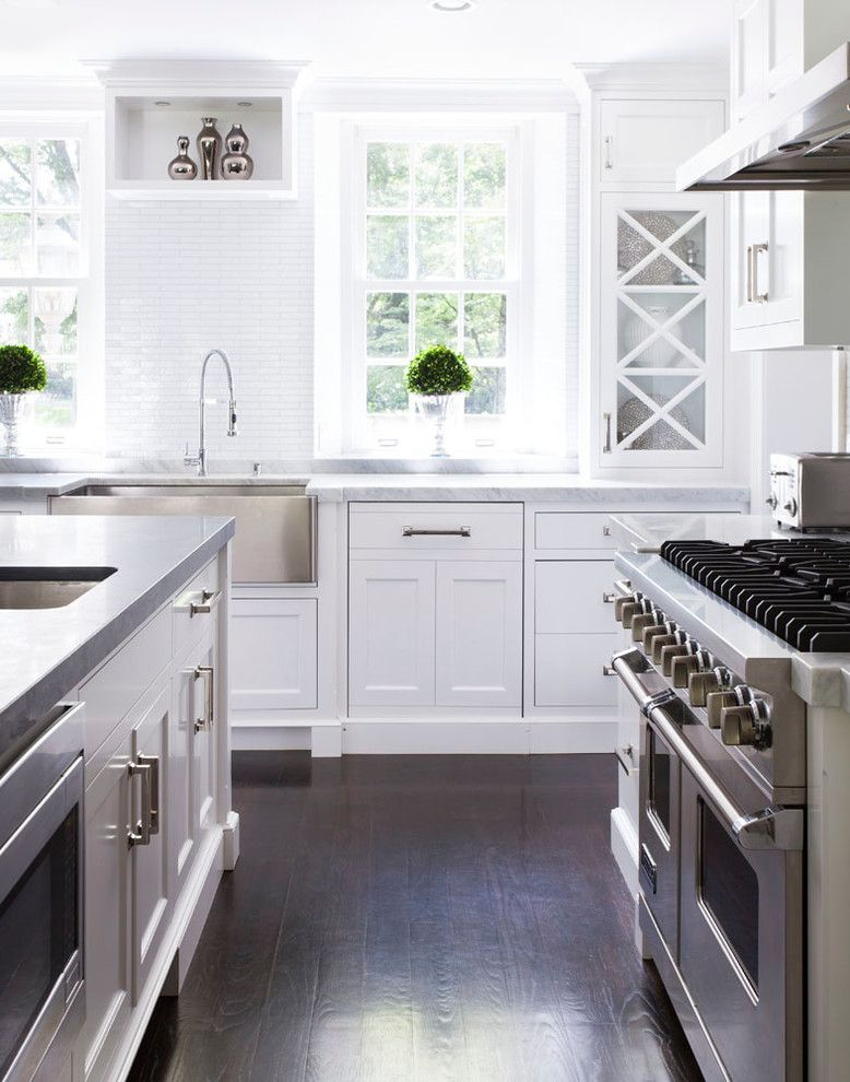 Klaffs Norwalk for a Transitional Kitchen with a Stainless Steel Hood and Updated Greenwich Residence by Susan Glick Interiors