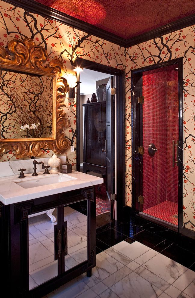 Kneedler Fauchere for a Eclectic Bathroom with a Ceiling Treatment and Hollywood Residence by Elizabeth Gordon