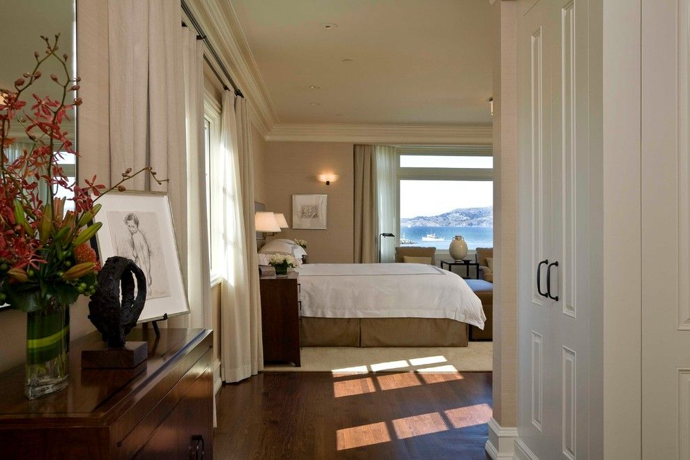 Kneedler Fauchere for a Traditional Bedroom with a Art and San Francisco Marina by C Wright Design
