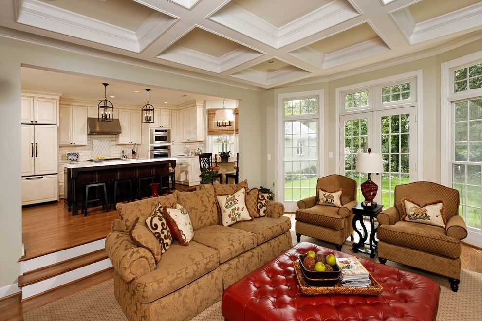 Knock Down Ceiling for a Traditional Family Room with a Area Rug and Family Room with Coffered Ceilings by Christine Kelly / Crafted Architecture