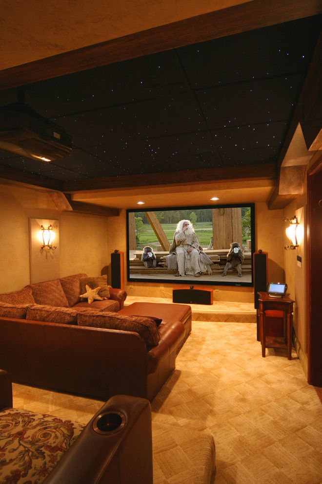 Knock Down Ceiling for a Traditional Home Theater with a Wall Sconce and ... by Gramophone