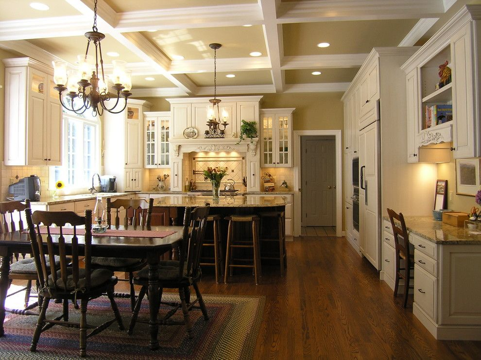 Knock Down Ceiling for a Traditional Kitchen with a Kitchen Desk and Macgibbon Kitchen 1 by Cameo Kitchens, Inc.