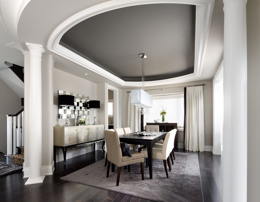 Knock Down Ceiling for a Transitional Dining Room with a Curtains and Jane Lockhart Interior Design by Jane Lockhart Interior Design