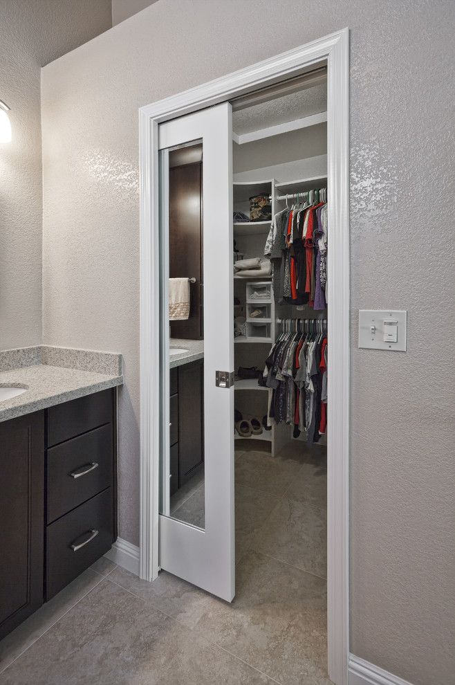 Knockdown Ceiling for a Traditional Closet with a Door and Cadret Master Bathroom by Floor to Ceiling Kitchen, Bath Flooring