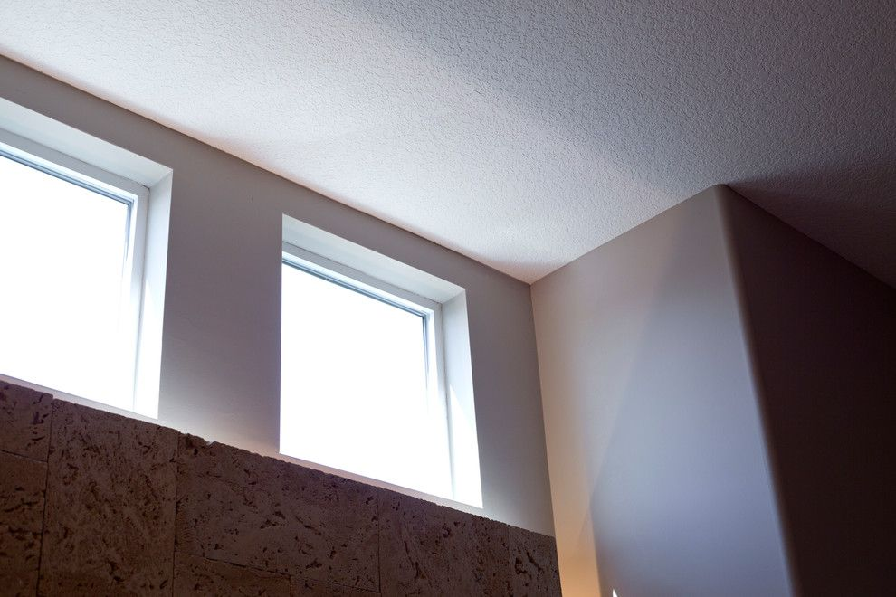 Knockdown Ceiling for a Transitional Bathroom with a Square Windows and Adriana by Paul Gray Homes
