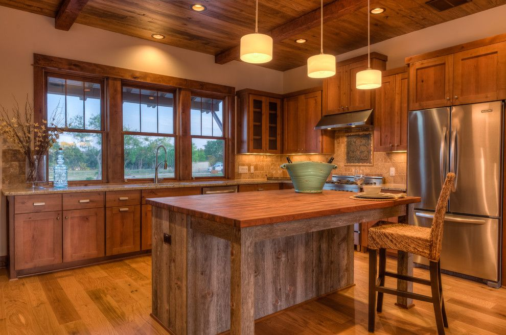 Knotty Alder Cabinets for a Rustic Kitchen with a Pendant Lights and Rustic Contemporary by Legacy Dcs
