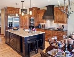 Knotty Alder Cabinets for a Traditional Kitchen with a Kitchen Islands and the Aberdeen by Carstensen Homes