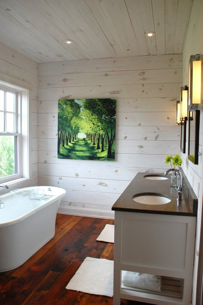 Knotty Pine for a Contemporary Bathroom with a Freestanding Tub and Kate Davidson Design by Kate Davidson Design Inc