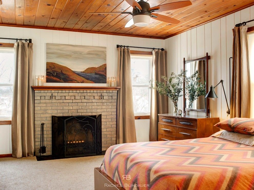 Knotty Pine for a Contemporary Bedroom with a West Elm and Mid Century Master Bedroom by Rachel Blindauer Interior Design