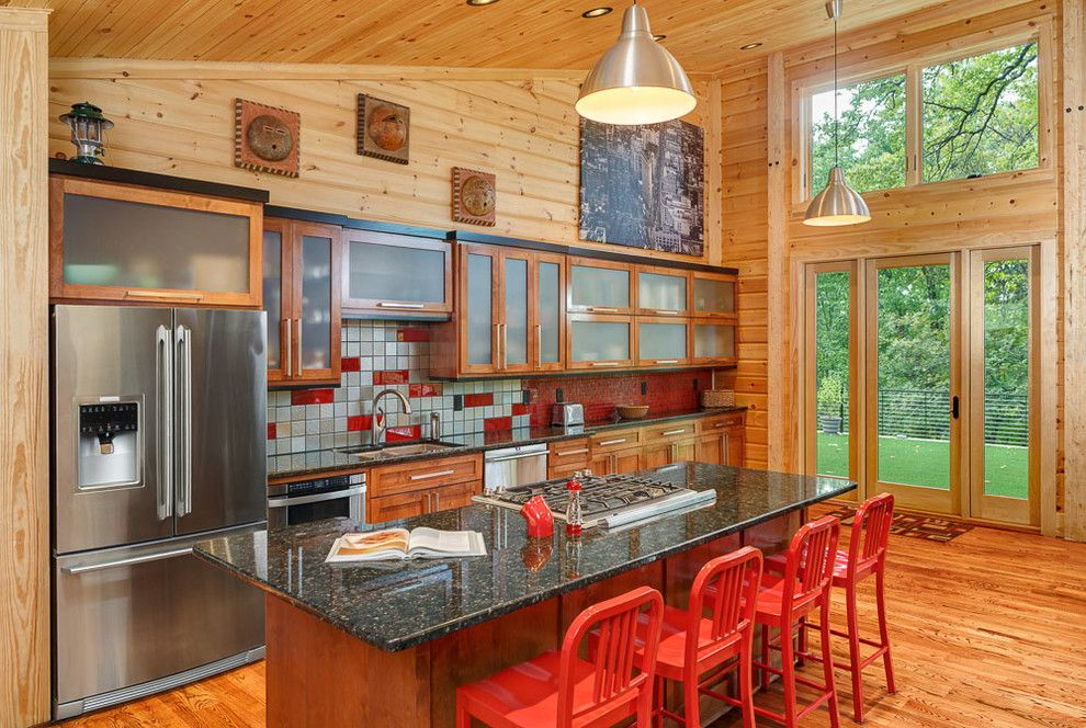 Knotty Pine for a Contemporary Kitchen with a Wood Interior and Azur by Anthemion Architecture Llc