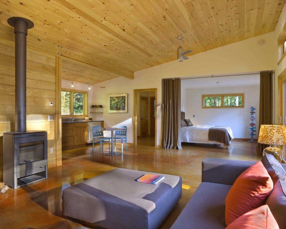 Knotty Pine for a Modern Living Room with a Pillow and Modern Cabin by Joan Heaton Architects