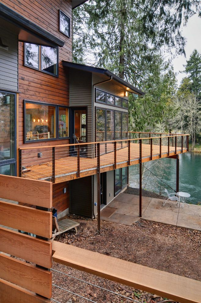 Knox Rail Salvage for a Contemporary Deck with a Posts and Mckenzie River Home by Six Degrees Construction