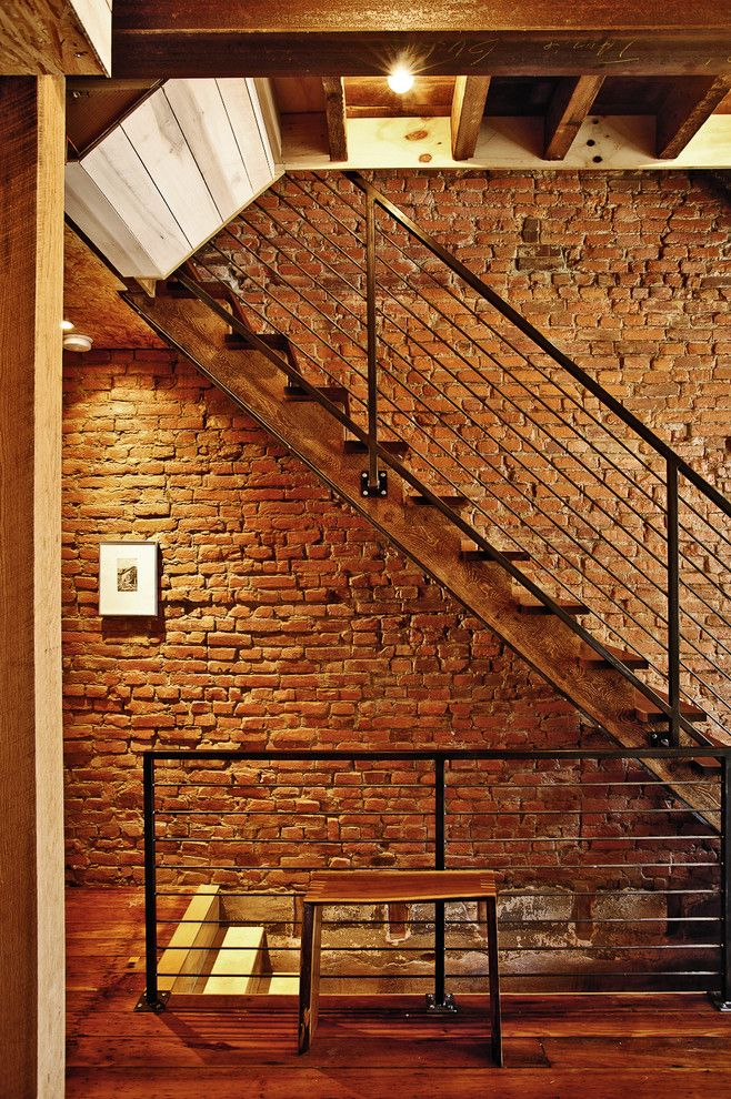 Knox Rail Salvage for a Contemporary Staircase with a Wood Ceiling and Cumberland Street by Craftwork