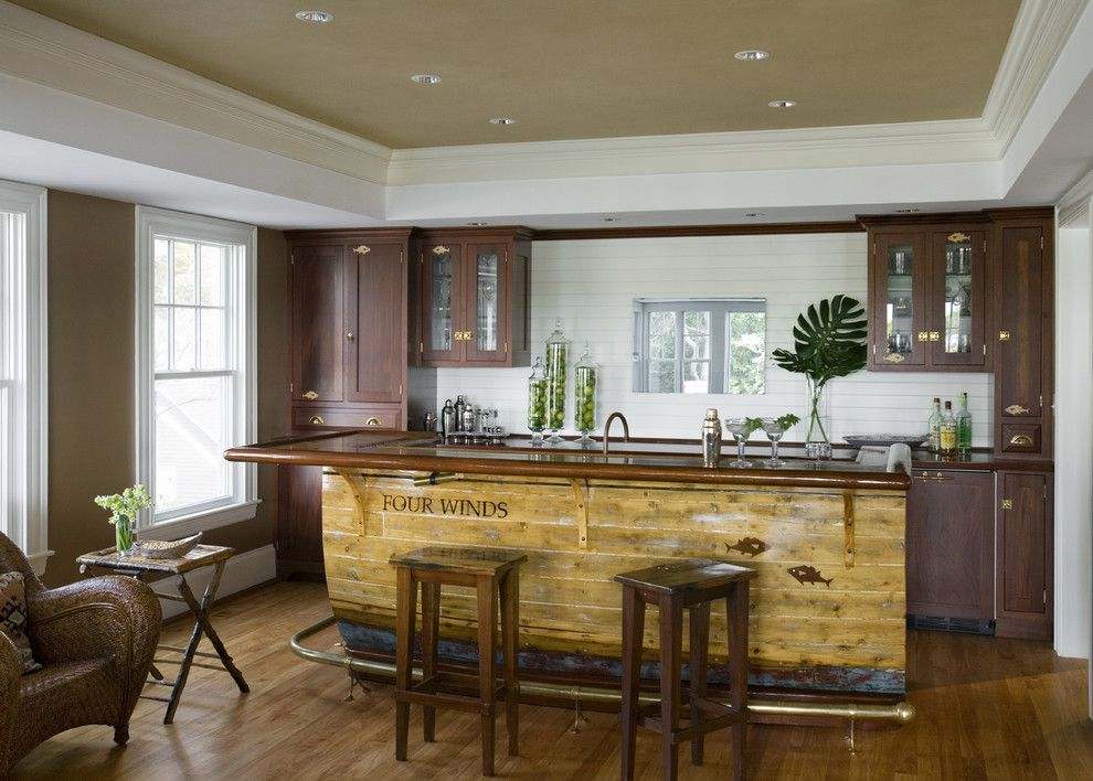 Knox Rail Salvage for a Rustic Home Bar with a Colored Ceiling and Profile by Siemasko + Verbridge