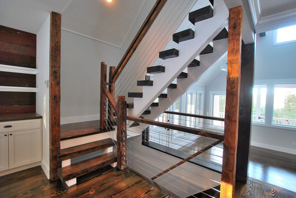 Knox Rail Salvage for a Rustic Staircase with a Catskill Farm and Finished Houses Interiors by Charles Petersheim, Builder