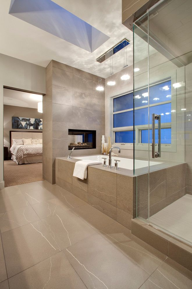 Kodiak Steel Homes for a Contemporary Bathroom with a Stall Shower and Calgary   Lott Creek Landing S.w. by Dekora Staging Inc