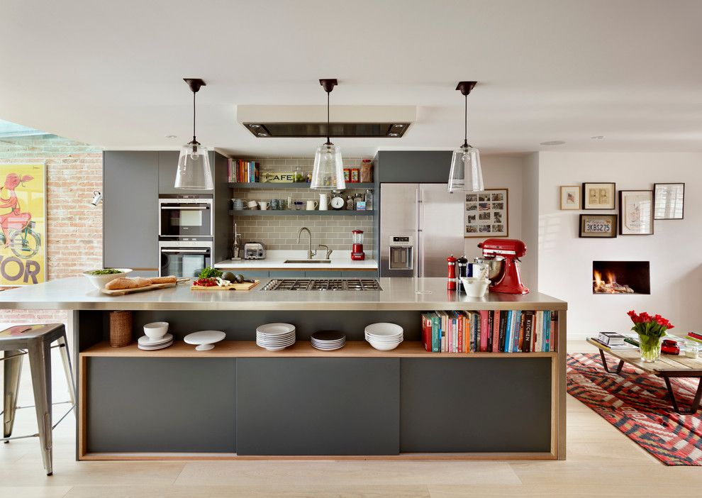 Kodiak Steel Homes for a Contemporary Kitchen with a Counter Stool and Family Kitchen by Roundhouse