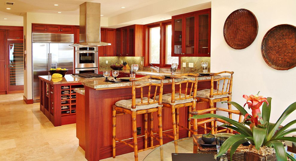 Kona Kitchen for a Tropical Kitchen with a Ceiling Lighting and Kitchen Breakfast Bar by Saint Dizier Design