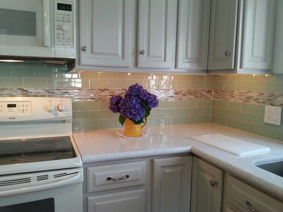 Kountry Wood Products for a Beach Style Kitchen with a Glass Mosaics and Essentials Subway Glass Collection by Best Tile