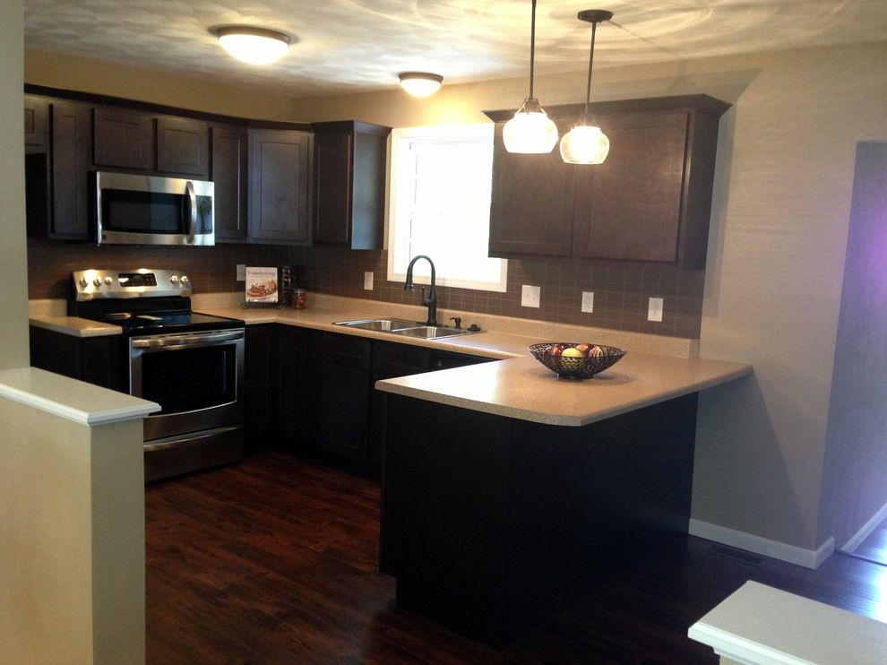 Kountry Wood Products for a Contemporary Kitchen with a Espresso Cabinets Iwth Dark Tile and Kountry Wood Products