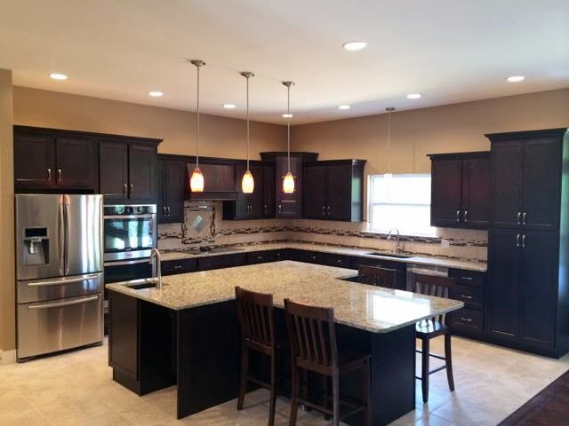 Kountry Wood Products for a Contemporary Kitchen with a Island with Seating and Kountry Wood Products