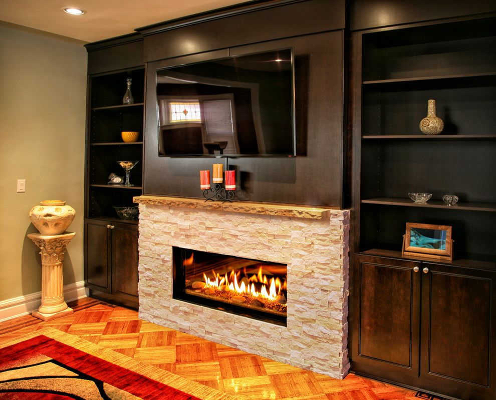 Kozy Heat For A Contemporary Living Room With Built Ins And Modern Fireplace In Brooklyn Brownstone By Ember Fireplaces