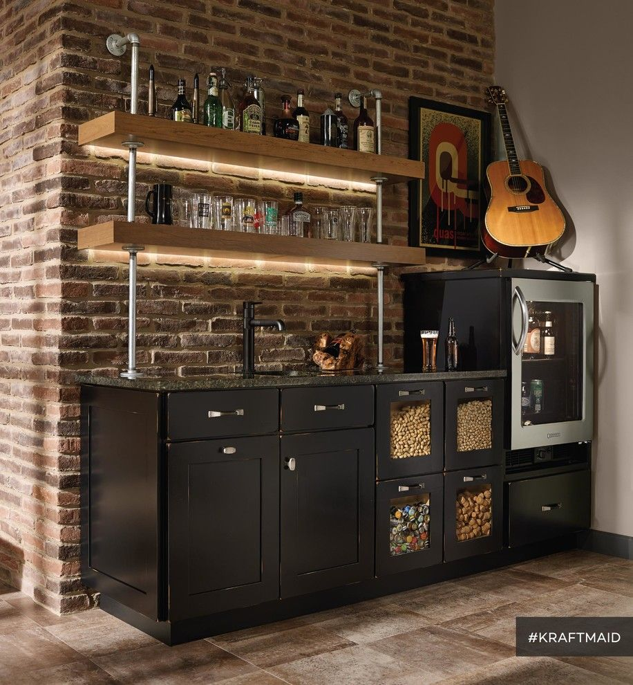 Kraft Maid for a Rustic Home Bar with a Bar Cabinets and Kraftmaid: Cherry Kitchen Bar Area with Led Lighting by Kraftmaid