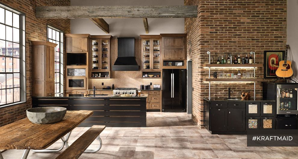 Kraft Maid for a Rustic Kitchen with a Brick Walls in Kitchen and Kraftmaid: Rustic Alder Kitchen Cabinetry in Husk Suede by Kraftmaid