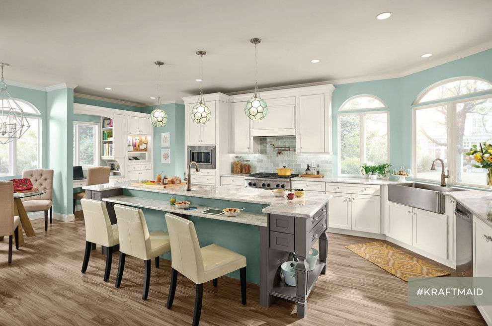 Kraft Maid for a Traditional Kitchen with a Island with Legs and Kraftmaid: Evercore Kitchen Cabinetry in Dove White and Greyloft by Kraftmaid