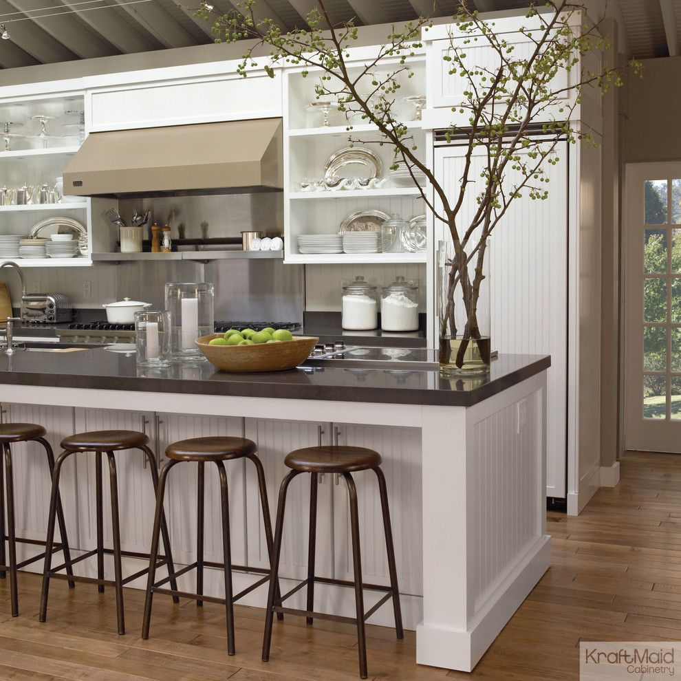Kraft Maid for a Transitional Kitchen with a House Beautiful and Kraftmaid: Maple Cabinetry in Dove White by Kraftmaid