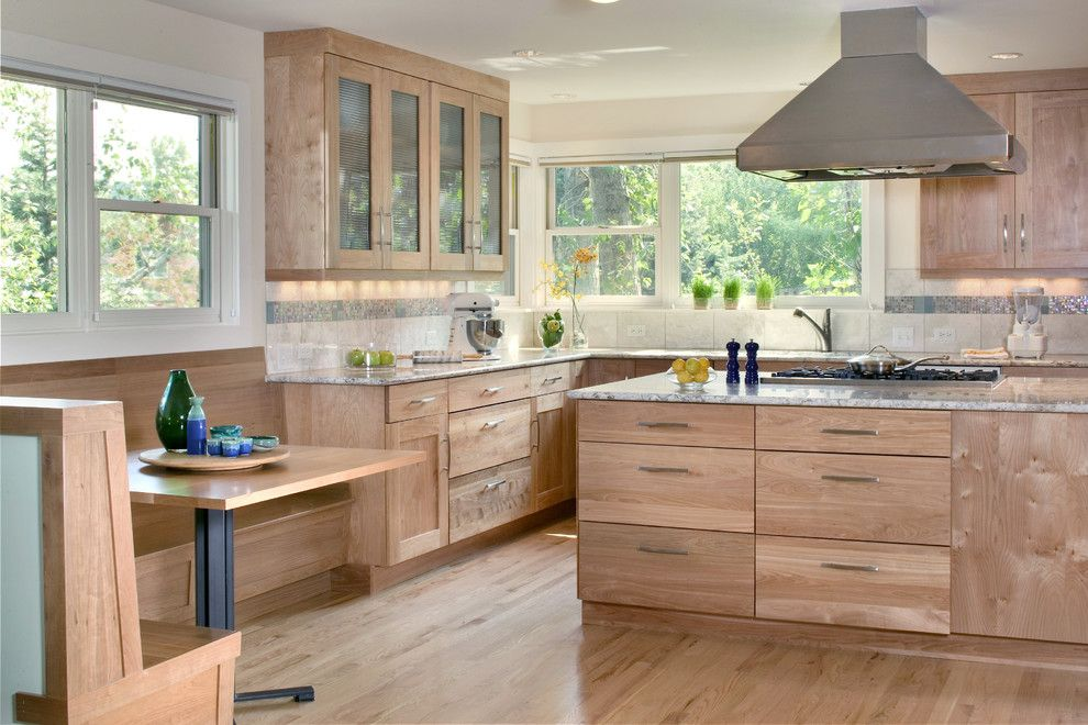 Kraus Flooring for a Contemporary Kitchen with a Frosted Glass and Hillsdale Kitchen by Lawrence and Gomez Architects
