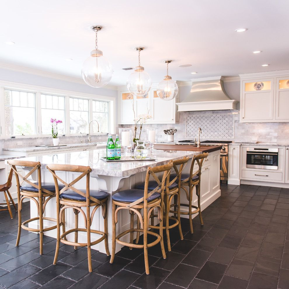 Kraus Flooring for a Traditional Kitchen with a Blue and Anchorage by Katharine Jessica Interior Design, Llc