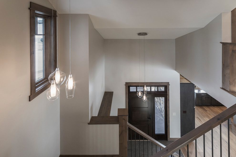 Kuzco for a Transitional Staircase with a Mountain Contemporary and the Range at Wildhorse by Rivertree Custom Builders Inc.