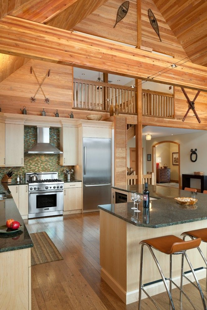 L484 for a Rustic Kitchen with a Cathedral Ceiling and Elk Mountain House by E. B. Mahoney Builders, Inc.