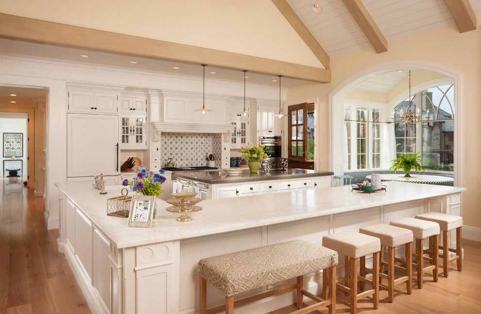 L484 for a Traditional Kitchen with a Dentil Molding and Country Home   02 by Think Architecture Inc.