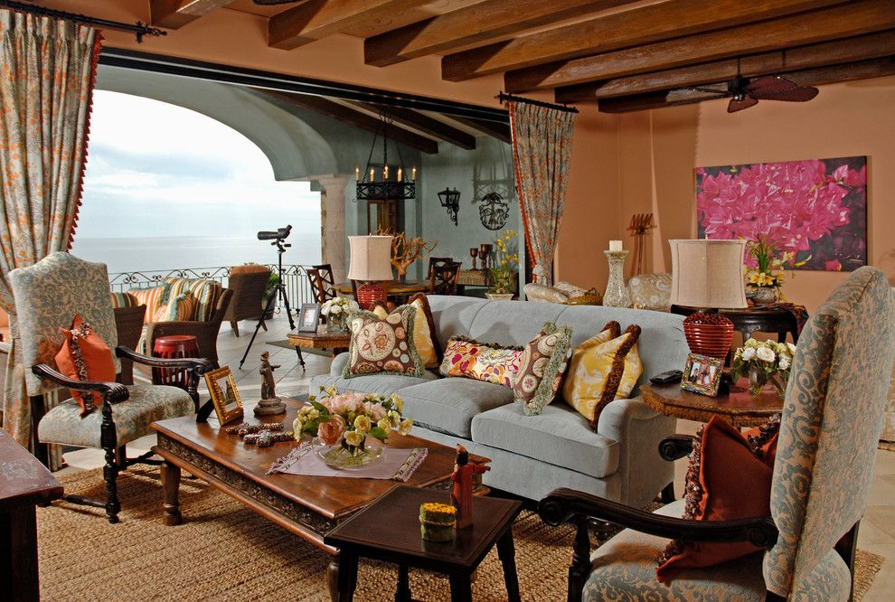 La Habra Stucco for a Mediterranean Living Room with a Natural Fiber Rug and Various by Balke and Associates Llc