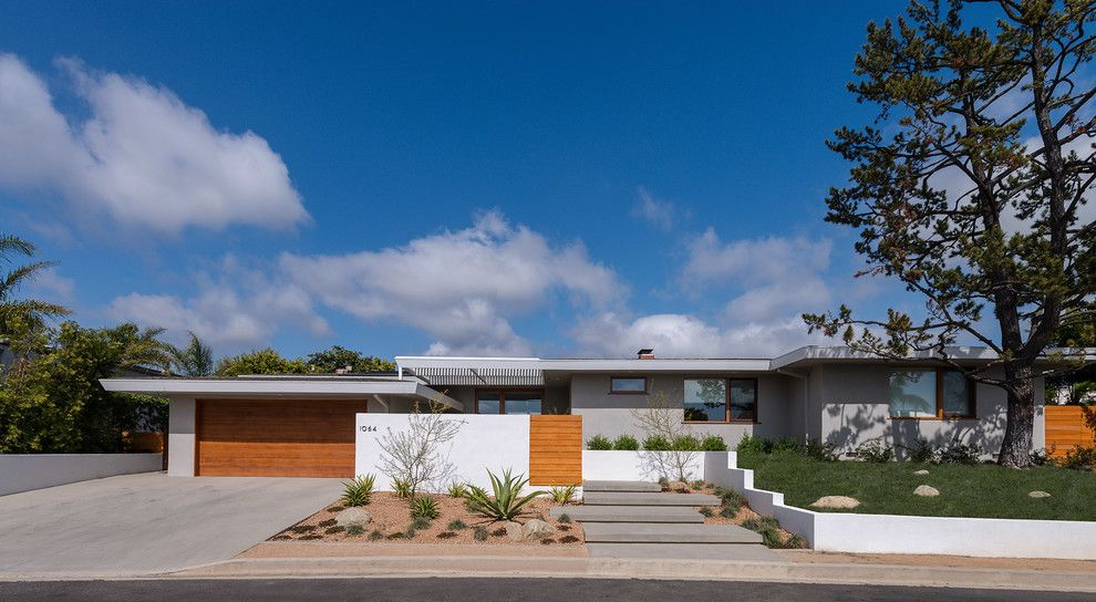 La Habra Stucco for a Midcentury Exterior with a Gray Siding and Bel Air Modern by Koffka Phakos Design