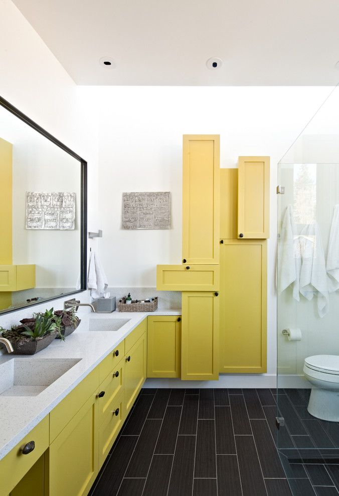 Lacy Bella Designs for a Contemporary Bathroom with a Yellow Bathroom Cabinets and Josephine Remodel by Wa Design Architects