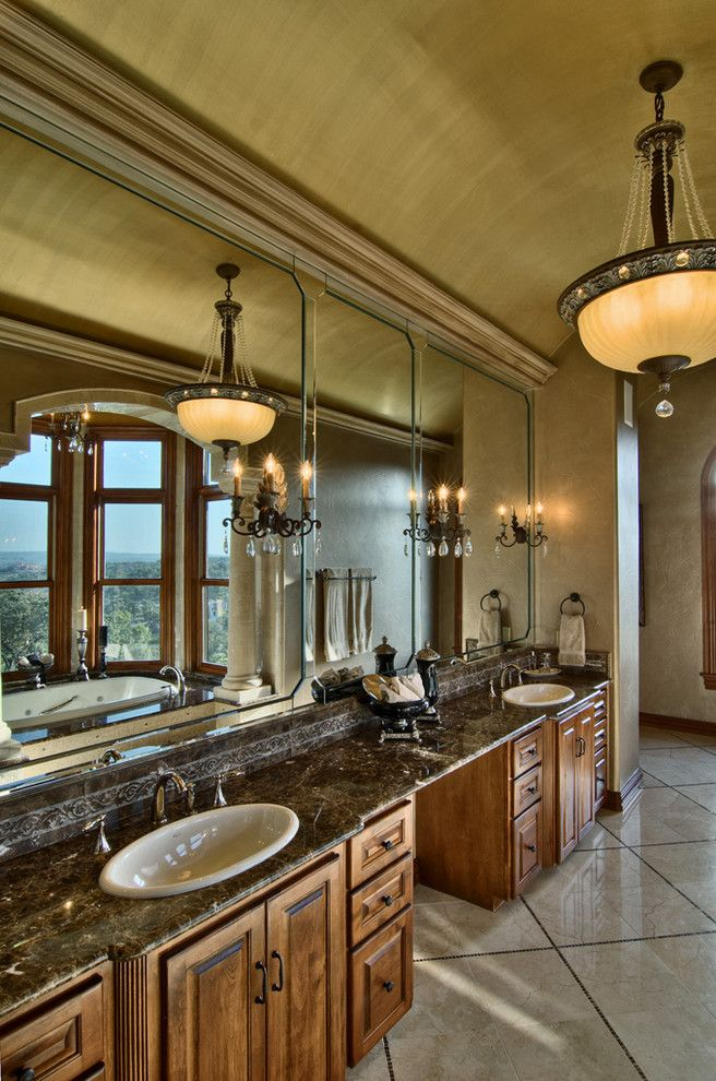 Lacy Bella Designs for a Traditional Bathroom with a Pendant Chandelier and Knap by Bella Villa Design Studio