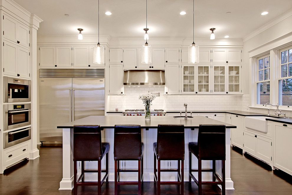 Lacy Bella Designs for a Traditional Kitchen with a Glass Front Cabinets and Kitchen by Paul Moon Design