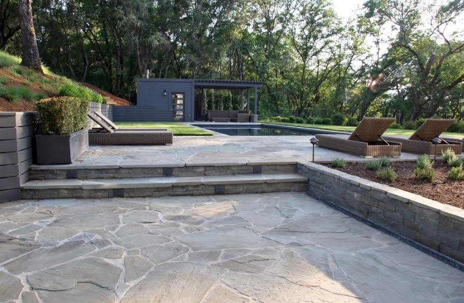 Landscapers Supply for a Contemporary Patio with a Pool Coping and Full Color Bluestone Paving, Steps and Wall by Sbi Building Materials & Landscape Supplies