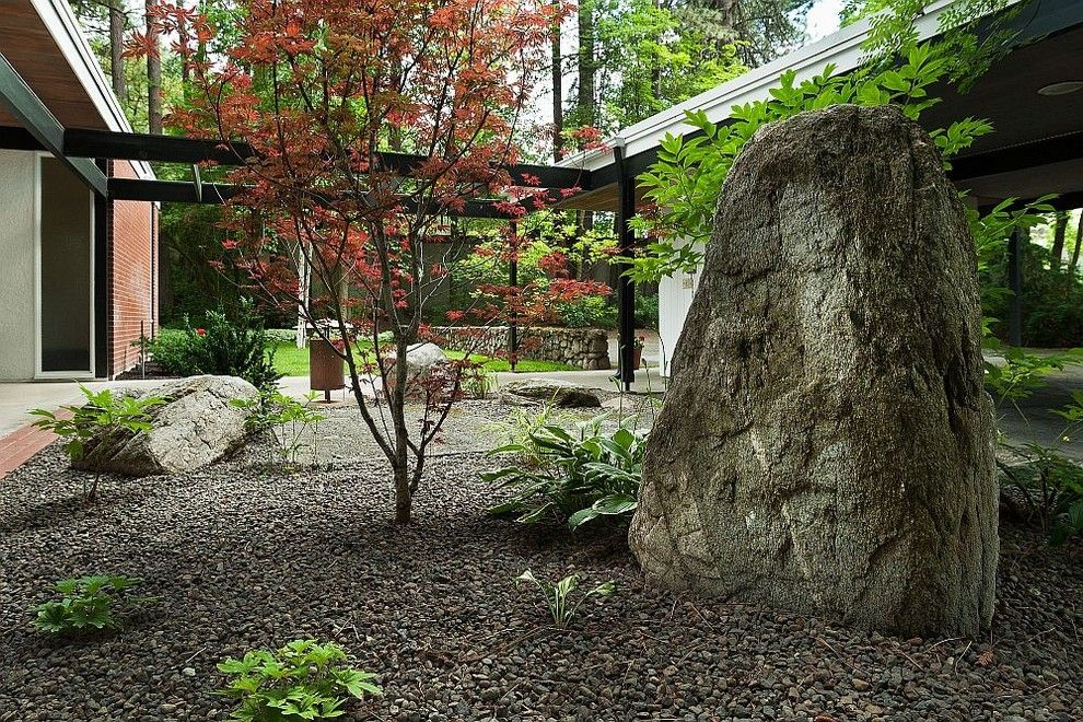 Landscapers Supply for a Midcentury Landscape with a Walkway and Spokane Midcentury   Mary Jean & Joel E. Ferris, Ii House by Spokanemidcentury