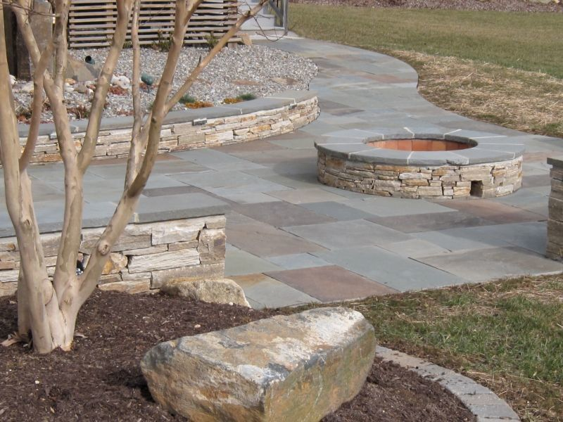 Landscapers Supply for a Traditional Patio with a Firepit and Natural Clef Flagstone Patio    Veener Stone Sitting Walls   Custom Fire Pit by Woodward Landscape Supply
